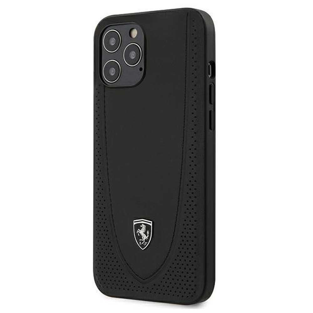 Etui de cuir 100% naturel Ferrari Originálny obal sur le Apple iPhone 12 Pro Max Noir